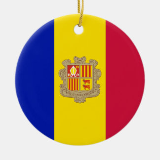 Andorra Flag Ceramic Ornament