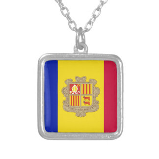Andorra Flag Silver Plated Necklace