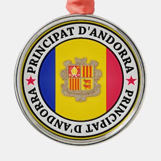 Andorra Round Emblem Metal Ornament