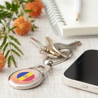Andorra Souvenir Silver-Colored Oval Keychain