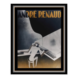 Andre Renaud Dual Pianos Deco Poster  16 x 20