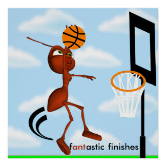 Andre The Ant Basketball Slam Dunk Poster
