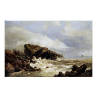 Andreas Achenbach Surf on a Rocky Coast Poster