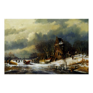 Andreas Schelfhout Dutch Landscape with Figures Poster