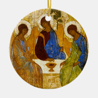 "Andrei Rublev, ""Holy Trinity"" Round Ceramic Ornament"