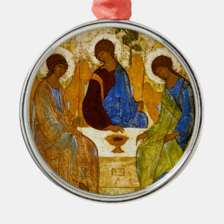 "Andrei Rublev, ""Holy Trinity"" Silver-Colored Round Ornament"