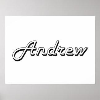 Andrew Classic Retro Name Design Poster