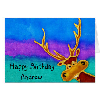 Andrew, Happy Birthday silly stag card