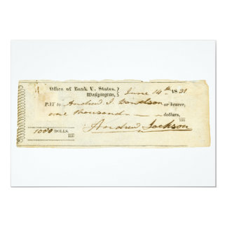 Andrew Jackson Signed Check from June 14th 1831 Card