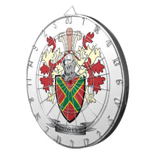 Andrews Family Crest Coat of Arms Dartboard