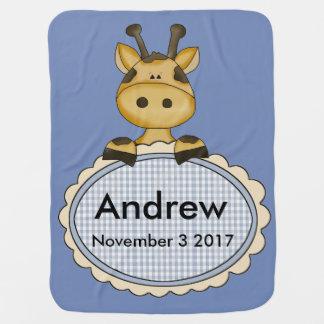 Andrew's Personalized Giraffe Swaddle Blanket