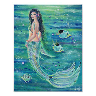 Andrina fantasy mermaid poster with angelfish