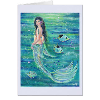 Andrina mermaid card with angelfish by Renee