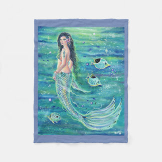 Andrina  mermaid fleece blanket with angelfish