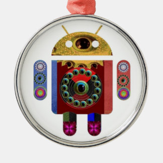 ANDROID by Navin Joshi Silver-Colored Round Ornament