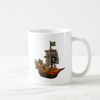 Android Pirate on a Ship Classic White Coffee Mug