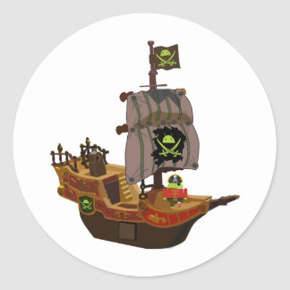 Android Pirate on a Ship Round Sticker