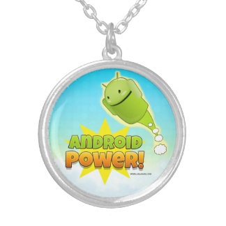 Android Power Round Pendant Necklace