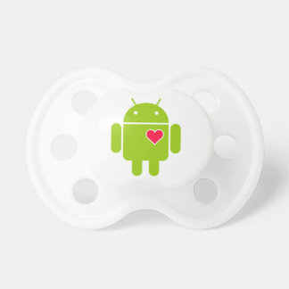 Android Robot Icon with a Heart Pacifier