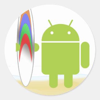 Android Surfer Round Sticker
