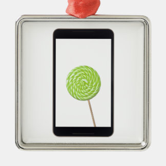 Android tablet with lollipop Silver-Colored square ornament