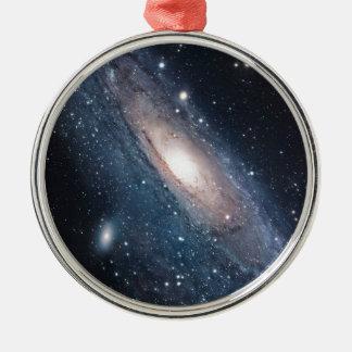 andromeda galaxy milky way cosmos universe Silver-Colored round ornament