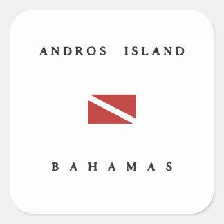 Andros Island Bahamas Scuba Dive Flag Square Sticker
