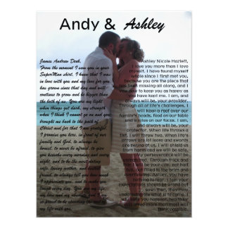 Andy & Ashley, wedding pic with vows Photo Print