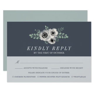 Anemone and Eucalyptus RSVP Card with Meal Choice