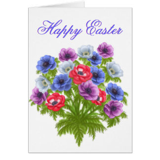 Anemone Bouquet Happy Easter Card