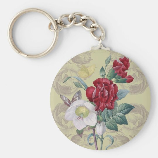 Anemone carnation Roses Basic Round Button Keychain