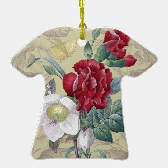 Anemone carnation Roses Ceramic T-Shirt Ornament