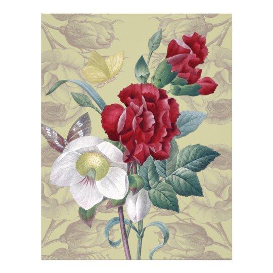 Anemone carnation Roses Custom Letterhead