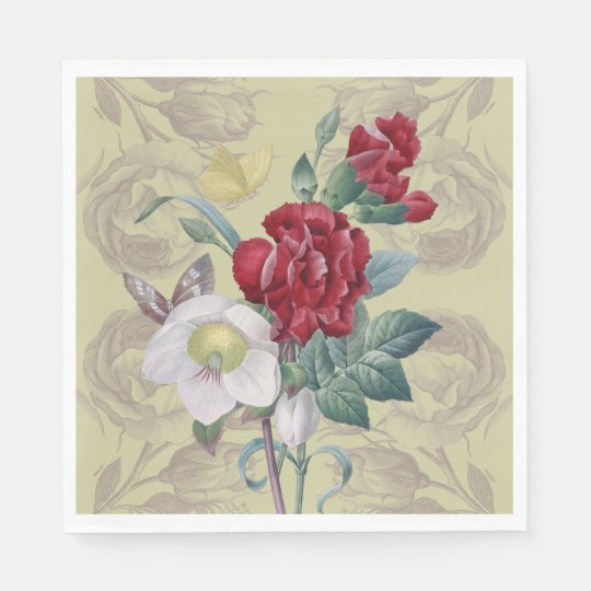 Anemone carnation Roses Paper Napkins