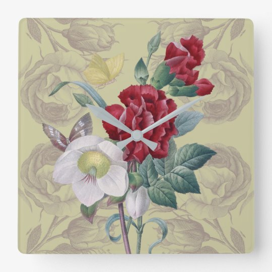 Anemone carnation Roses Square Wall Clock