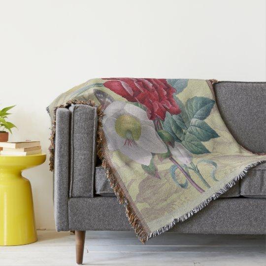 Anemone carnation Roses Throw Blanket