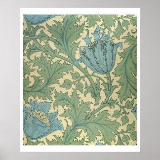 'Anemone' design (textile) Poster