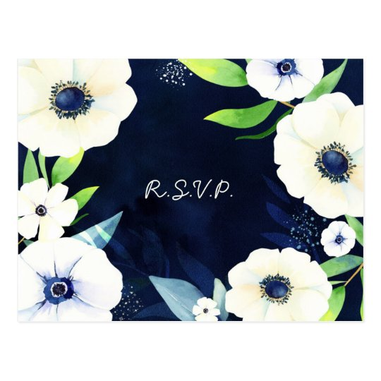 Anemone Floral Wreath Wedding RSVP Postcard