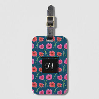 Anemone Flower Watercolor Painting Pattern Luggage Tag