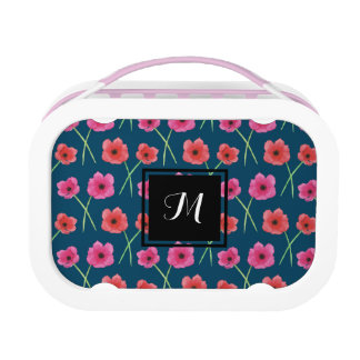 Anemone Flower Watercolor Painting Pattern Lunch Box