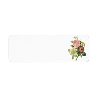 anemone rose clematis by Redouté Return Address Label