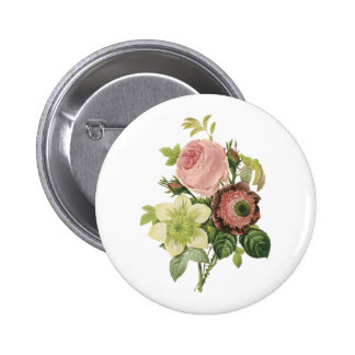 anemone rose clematis by Redouté Pinback Buttons