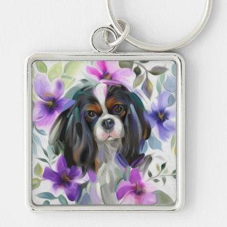 'Anemone' Tricolor cavalier dog art keychain