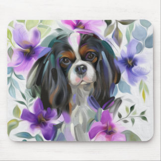 'Anemone' Tricolor cavalier dog art mousepad