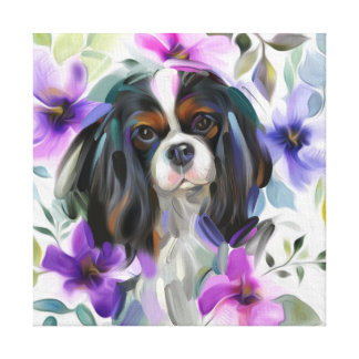 'Anemone' Tricolor cavalier dog print on canvas