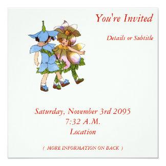 """Anemones and Bluets 5.25"""" Square Invitation Card"""