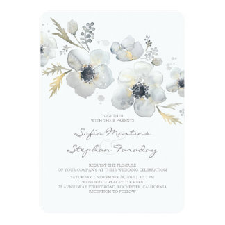 Anemones Vintage Bouquet Watercolor Wedding Card