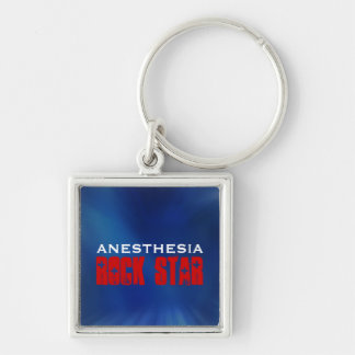 Anesthesia Rock Star Silver-Colored Square Keychain