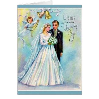 Ange catholique de marié de jeune mariée de carte