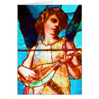 Ange de musical en verre souillé de Tiffany Cartes De Vœux